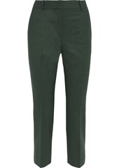 Theory Woman Treeca 2 Cropped Wool-blend Slim-leg Pants Forest Green