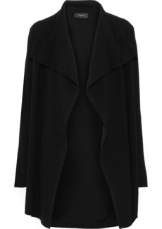Theory Woman Trincy Draped Wool-blend Cardigan Black