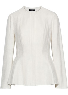 Theory Woman Tweed Peplum Jacket Ivory