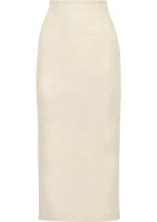 Theory Woman Twill Midi Pencil Skirt Beige