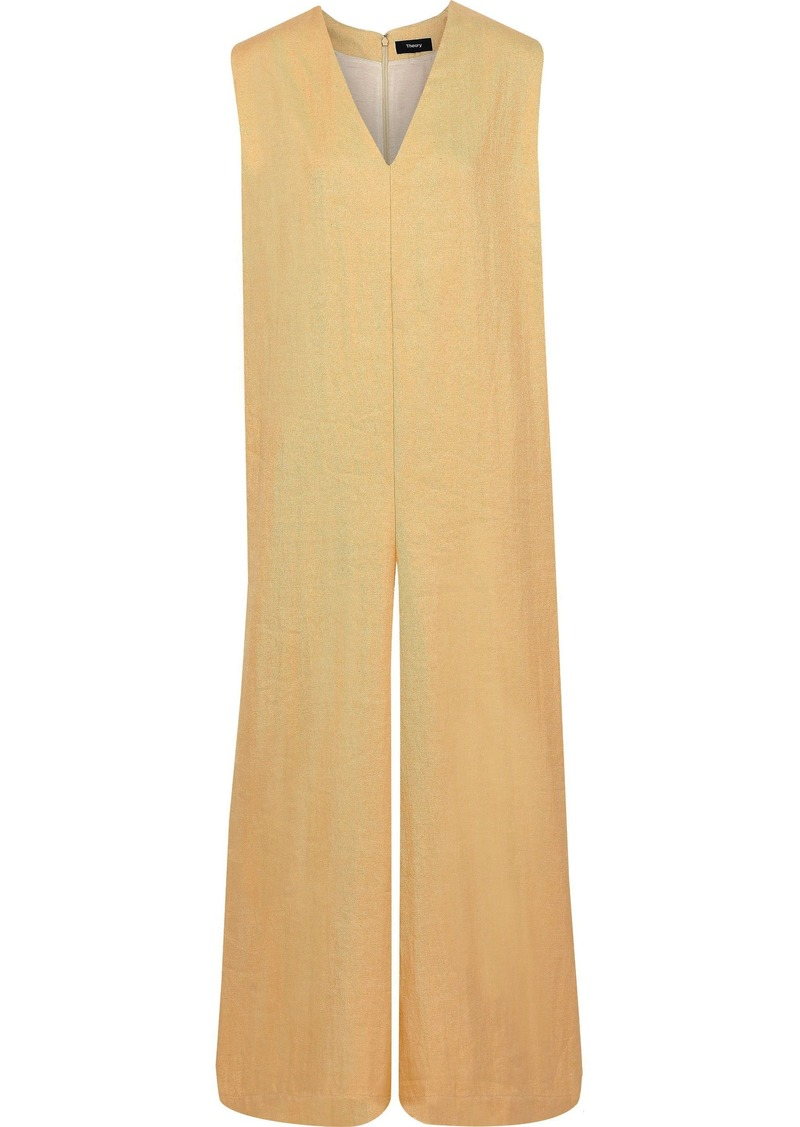 Theory Woman Twill Wide-leg Jumpsuit Saffron