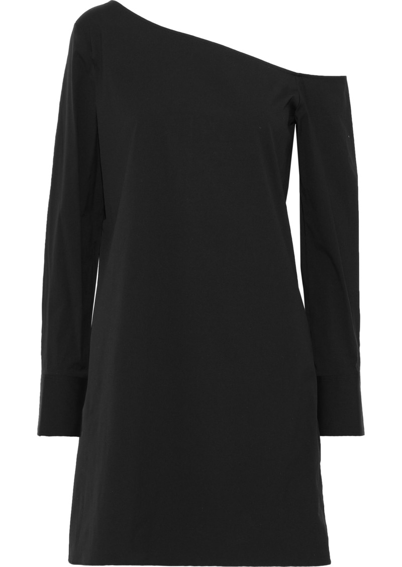 Theory Woman Ulrika One-shoulder Stretch-cotton Poplin Dress Black