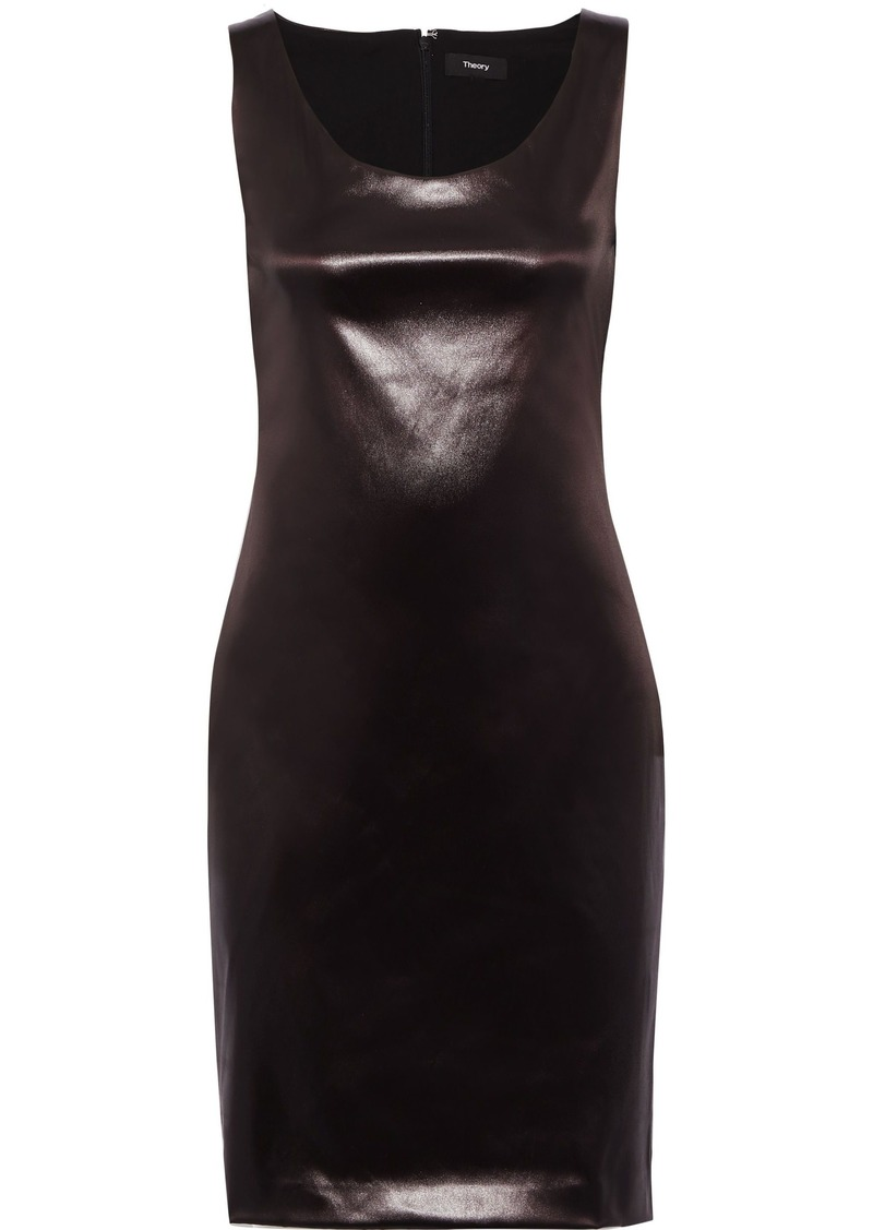 Theory Woman Faux Leather Dress Chocolate