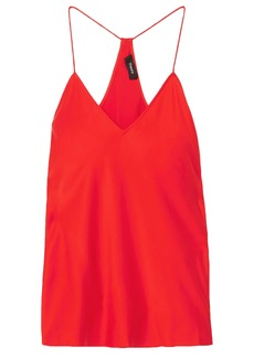Theory Woman Washed Silk-satin Camisole Tomato Red