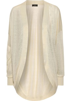 Theory Woman Waterfall Slub Linen-blend Cardigan Beige