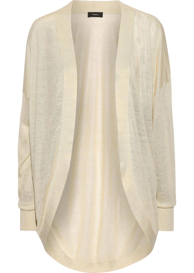 Theory Woman Waterfall Slub Linen-blend Cardigan Beige