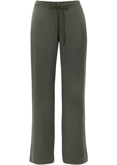 Theory Woman Winszlee Washed Silk-satin Wide-leg Pants Army Green