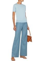 Theory Woman Wool-flannel Wide-leg Pants Slate Blue