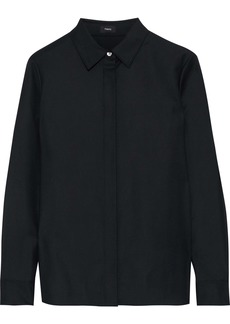 Theory Woman Wool-twill Shirt Black