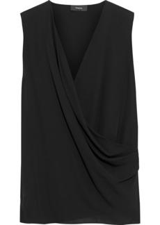 Theory Woman Wrap-effect Draped Silk Crepe De Chine Top Black