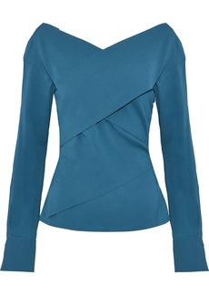 Theory Woman Wrap-effect Stretch-silk Crepe Top Cobalt Blue