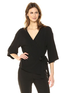 Theory Women's 3/4 Sleeve Elevated WRAP TOP  P