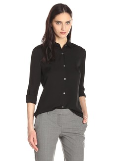 Theory Women's Classic Long Sleeve Tenia Buttondown Blouse black