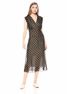 Theory Women's DEEP V Neck Easy MIDI Dress