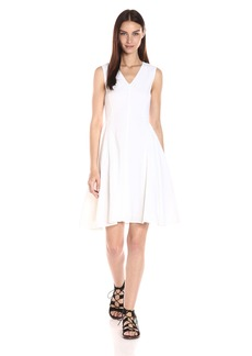 Theory Women's Kalsington Crunch Wash V-neck Fit and Flare Dress -   -