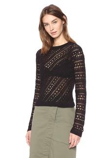 Theory Women's Long Sleeve Crochet Crewneck Sweater  P