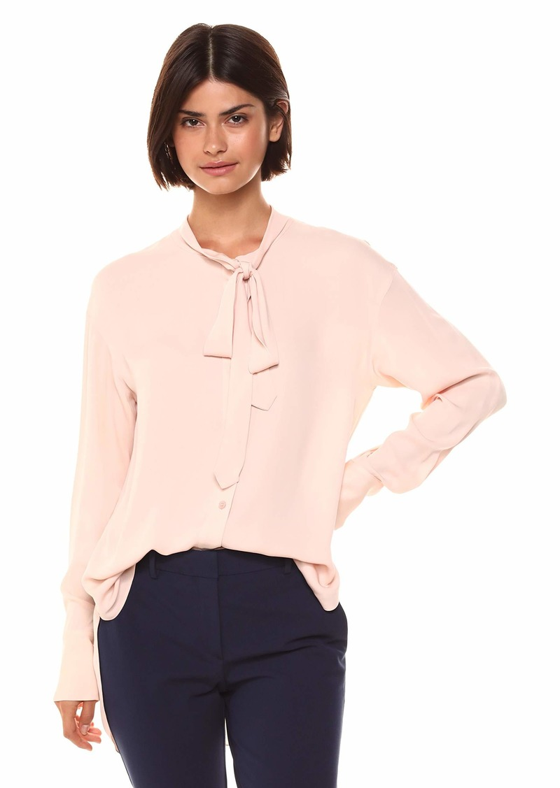 Theory Women's Long Sleeve Weekender TIE Neck Shirt  L