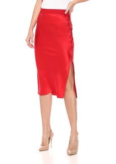 Theory Women's Pull ON MIDI Slip Skirt Fiery red L