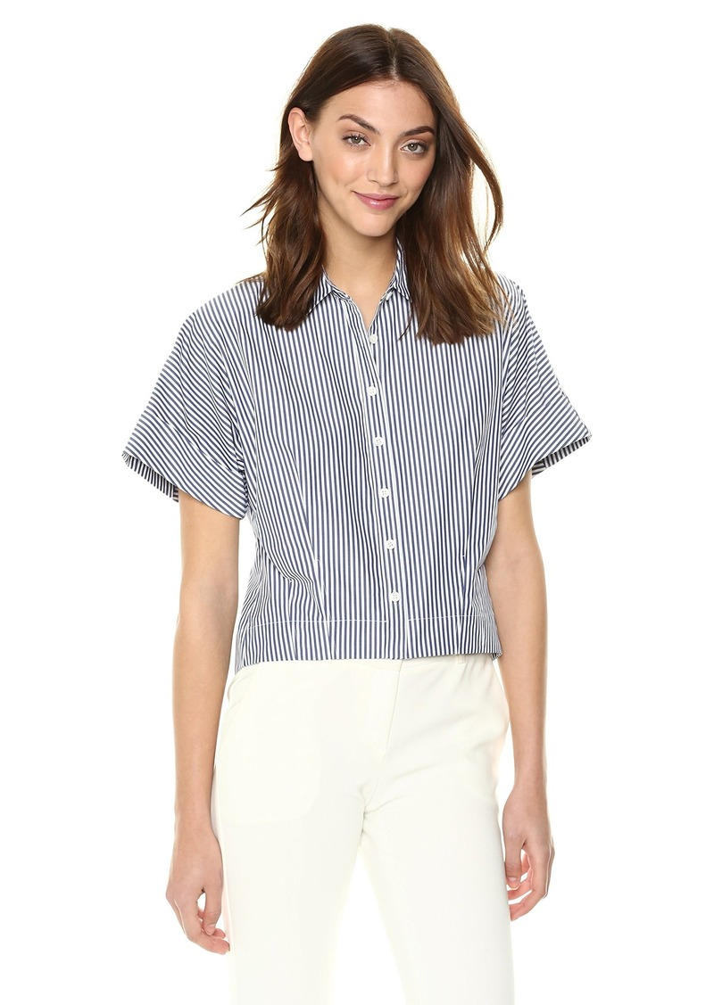 9716875220f1 SALE! Theory Theory Women s Short Sleeve Cropped Buttondown Shirt M