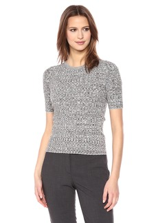 Theory Women's Short Sleeve Marl Rib Crewneck Sweater  M