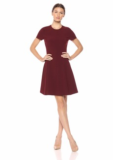 Theory Women's Short Sleeve Modern Seamed Shift deep Mulberry