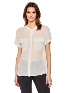 Theory Women's Short Sleeve RILLEY Button Front TOP  L