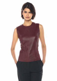Theory Women's Sleeveless Modern Seamed Shell deep Mulberry P