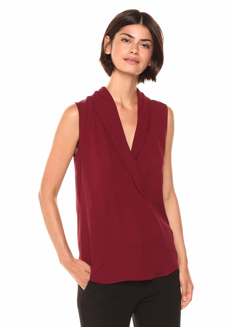 Theory Women's Sleeveless Shawl Collar Shell deep Mulberry L