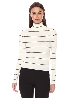 Theory Women's Striped Long Sleeve Crop Tneck Ivory/deep Navy M