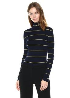 Theory Women's Striped Long Sleeve Crop TNECK  M