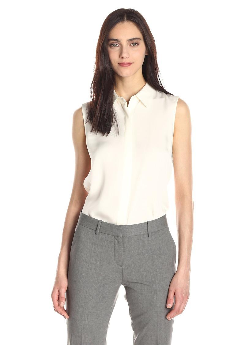 Theory Women's Sleeveless Button Front Tanelis Blouse