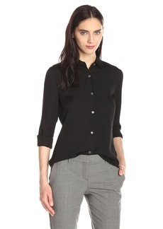 Theory Women's tenia Silk Long Sleeve Button Down Blouse