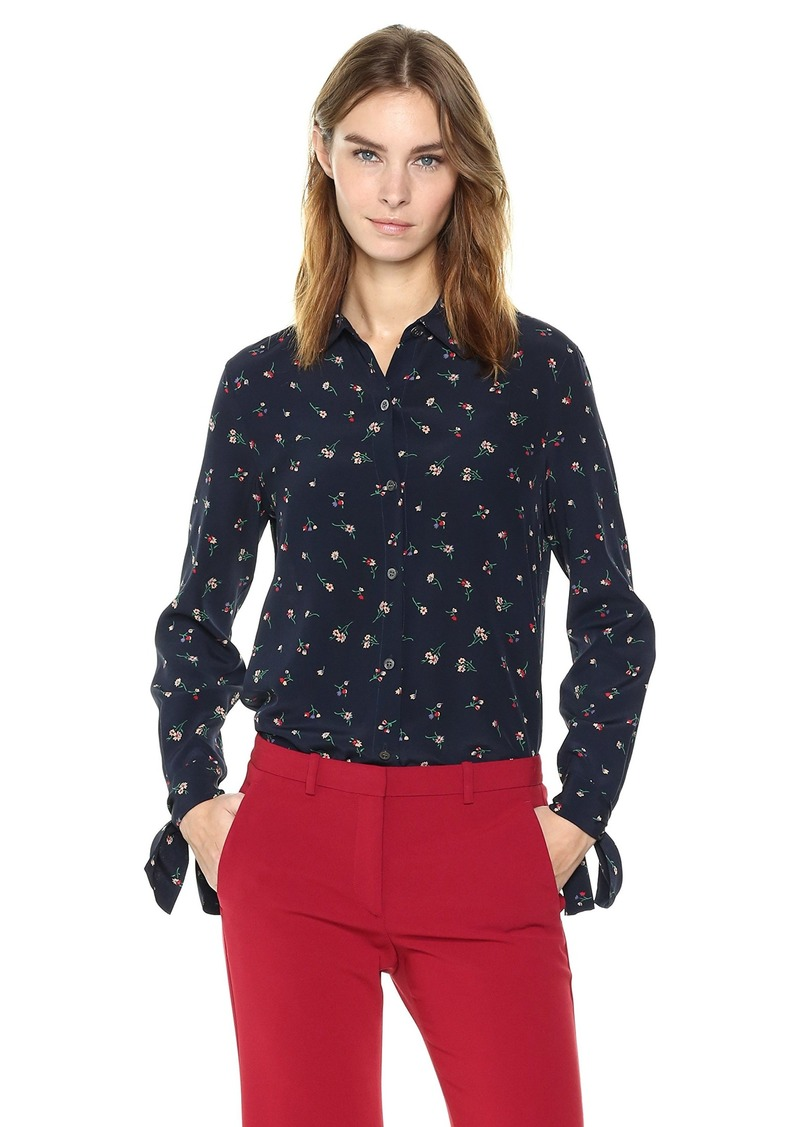 Theory Women's Tie Cuff Shirt deep Navy M