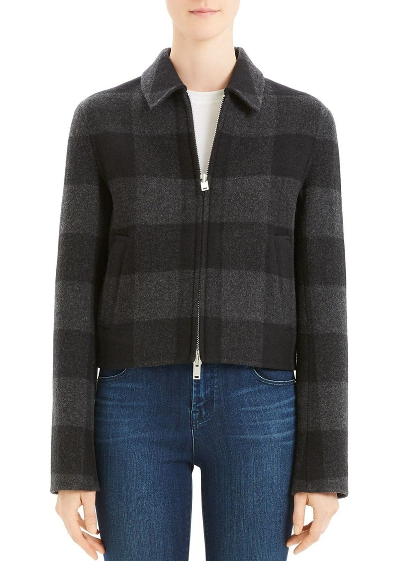 Theory Wool Buffalo Plaid Zip Jacket - 100% Exclusive
