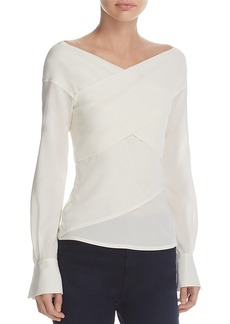Theory Wrapped Stretch-Silk Top