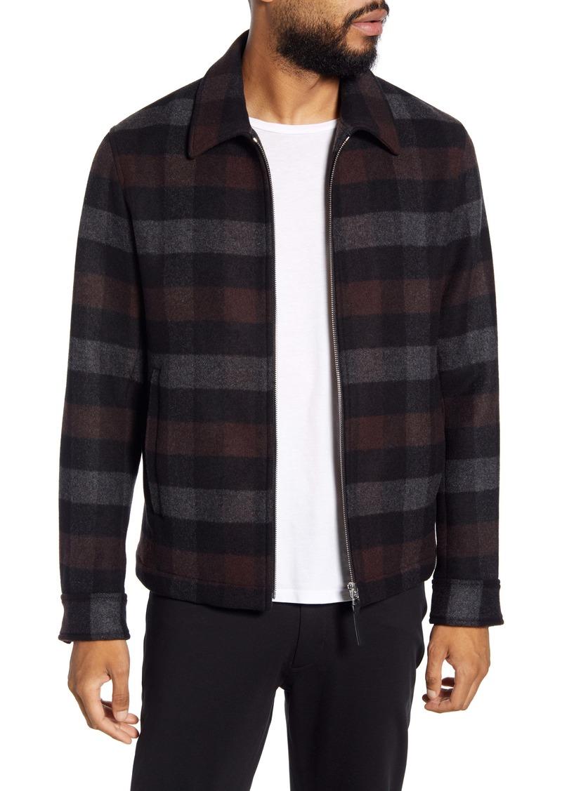 Theory Wyatt Regular Fit Mosaic Plaid Wool Blend Shirt Jacket