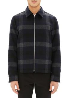 Theory Wyatt Regular Fit Plaid Wool Shirt Jacket