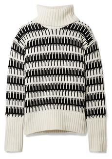 Theory Wyndora intarsia wool and cashmere-blend turtleneck sweater