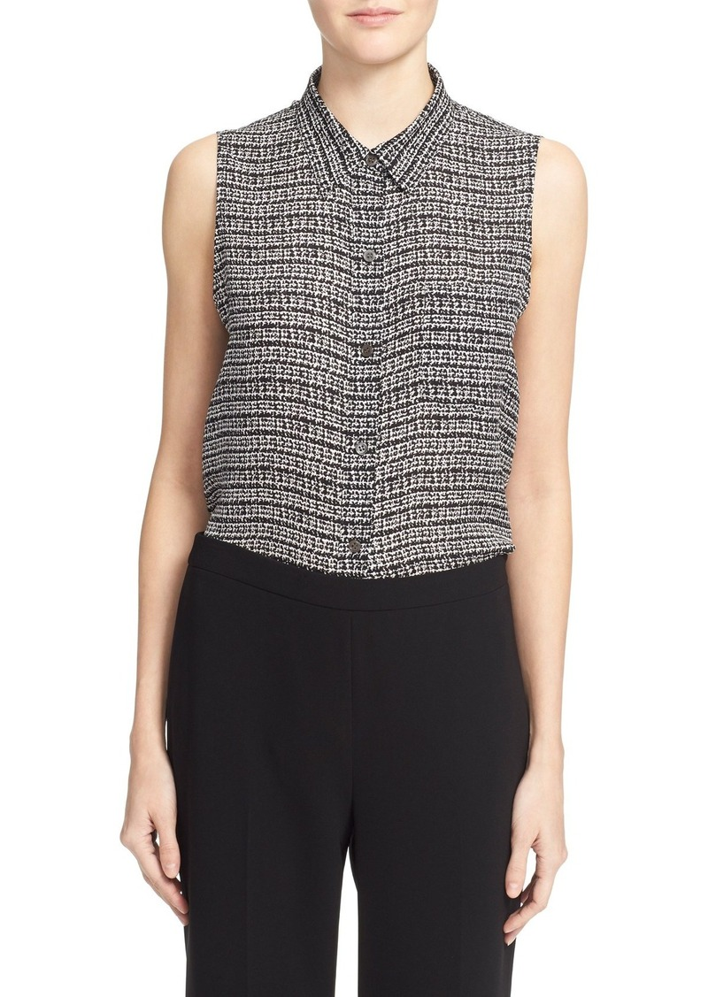 Theory 'Yarine TS' Tweed Print Sleeveless Silk Blouse