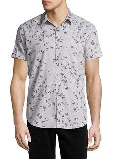 Theory Zack S. Leaflet Linen-Cotton Short-Sleeve Shirt