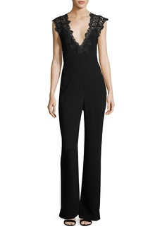 Theory Zuzanna Elevate Crepe Jumpsuit with Lace Trim