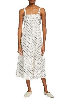 Theory Tie-Back Printed A-line Dress