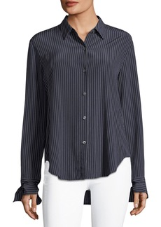 Theory Tie-Cuffs Button-Front Pinstripe Crepe De Chine Silk Blouse
