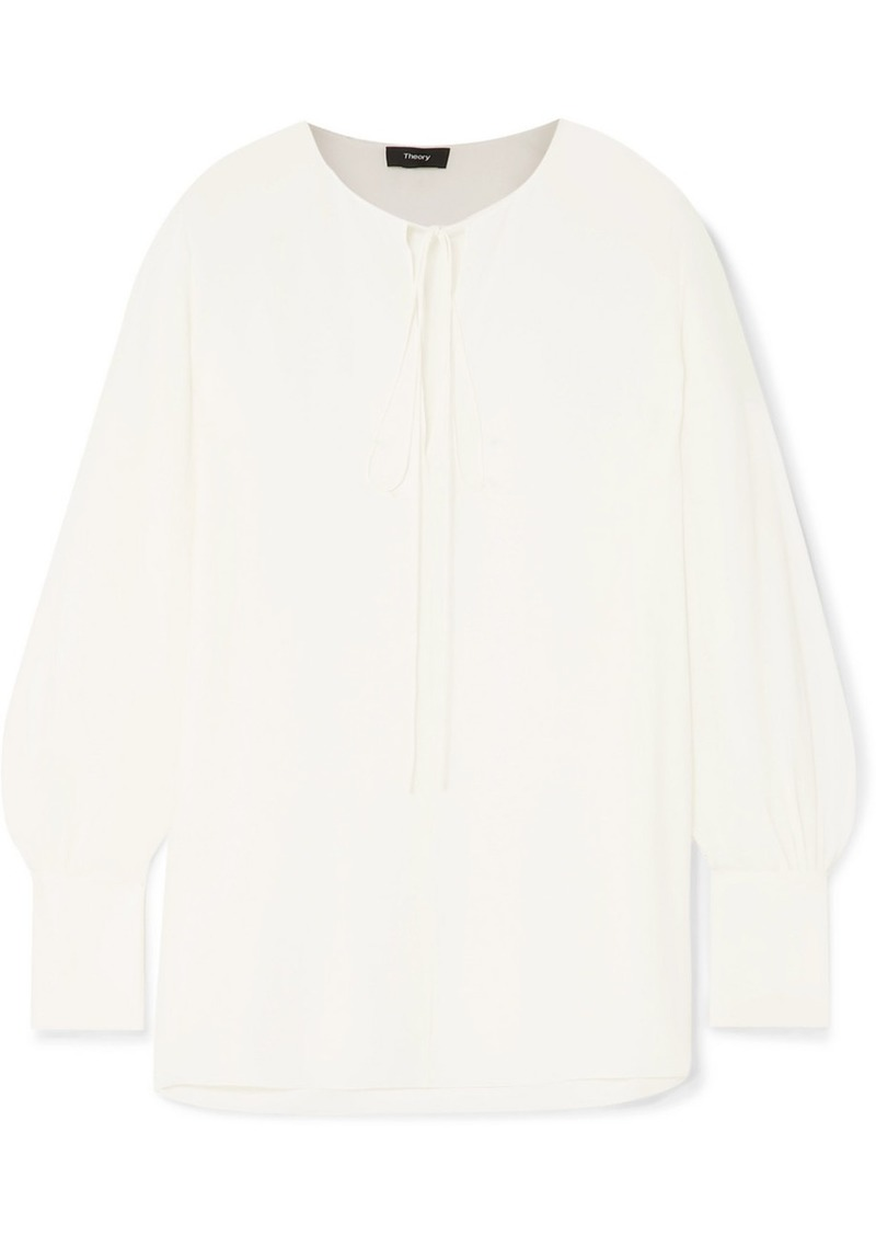 Theory Tie-detailed Silk Crepe De Chine Blouse