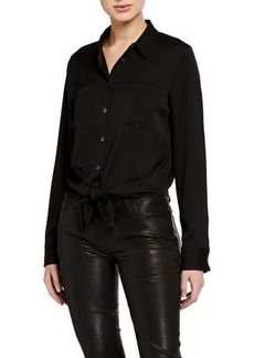 Theory Tie-Front Core-Stretch Shirt