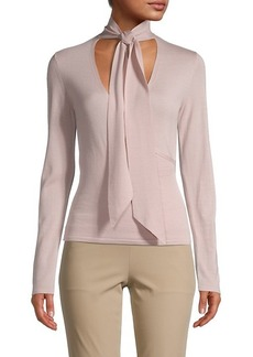 Theory Tie-Neck Wool Top