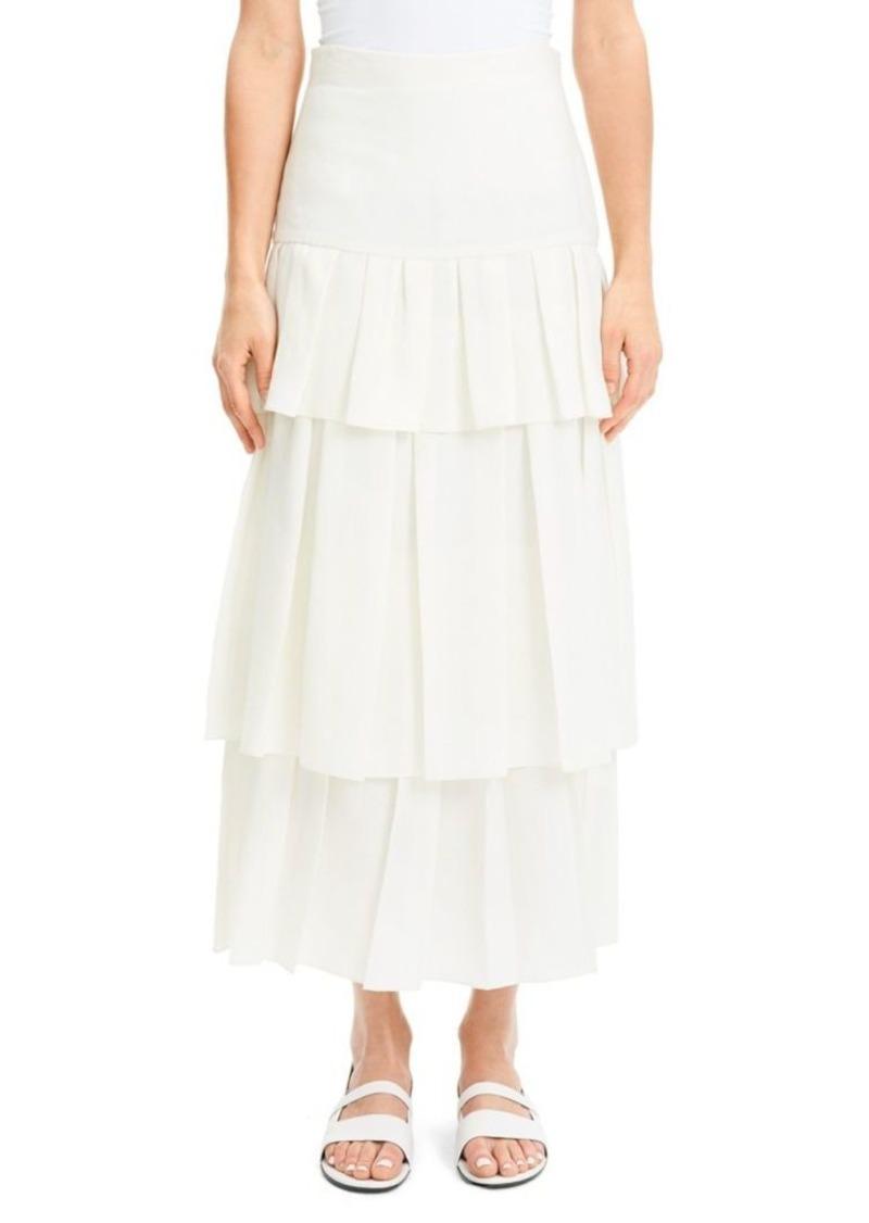 Theory Tiered Ruffle Linen Midi Skirt