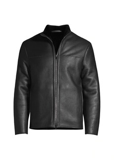 Theory Tobin Faux Fur-Lined Leather Jacket