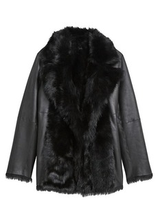 Theory Toscana Shearling-Trim Leather Coat