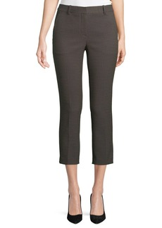 Theory Treeca 2 Dotted-Jacquard Straight-Leg Cropped Pants
